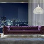Design Chesterfield Sofagarnitur 4 - Sitzer Couch Leder Polster Lila Luxus Sofa