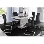 Design Freischwinger Stuhl Arco schwarz Edelstahlrahmen gebürstet Riess AmbienteRiess Ambiente