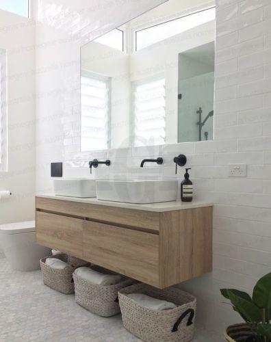 Détails sur ASTI | Mur de grain de bois de construction en bois de chêne blanc de 1500 mm suspendu à double meuble-lavabo en pierre – Wood Design