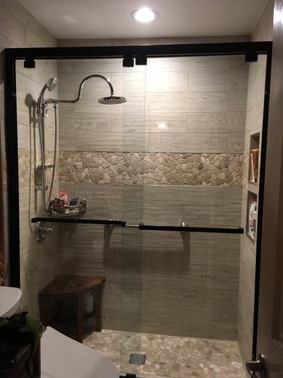 DreamLine Encore 56 to 60 in. x 76 in. Semi-Frameless Sliding Shower Door in Oil Rubbed Bronze-SHDR-1660760-06 – The Home Depot