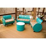 Drum Works Furniture 3001 4 Piece Topsail Bench & Chair Set, Multi Color & Turquoise - 31 x 45 x 24 in.