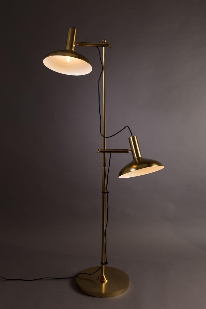 DutchBone Stehlampe Karish Brass zwei Lampenschirme