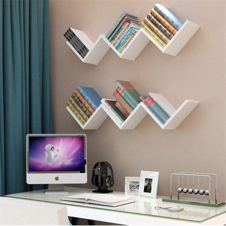 EECOO Fashionable Creative Floating Wall Shelf Rack Organizer Hanging Bookshelf Home Decor,White – Walmart.com