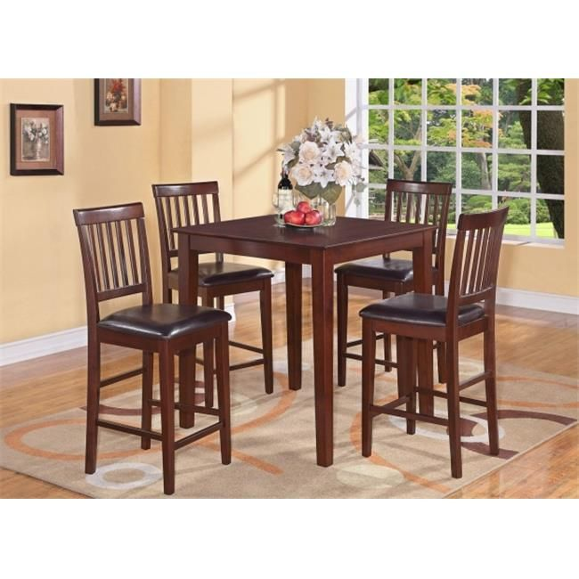 East West Furniture VERN5-MAH-LC 5-Piece Vernon Pub, Counter Height Square Table & 4 Faux Leather upholstered Seat