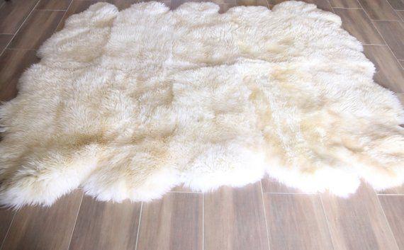 Echte natürliche cremige weiße Schaffell Teppich, Pelz, riesige Schaffell Teppich, große Schaffell Teppich, Schaffell werfen
