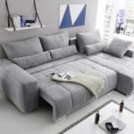 "Eckcouch ""Lopez"" Couch Schlafsofa Funktionssofa ausziehbar hellgrau 305 cm"