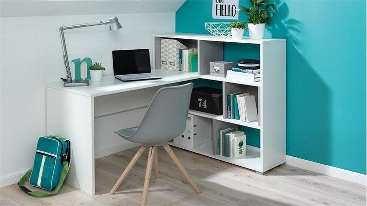Eckschreibtisch CONCRETE Schreibtisch Regal in weiß Beton Wellemöbel – https://pickndecor.com/dekor