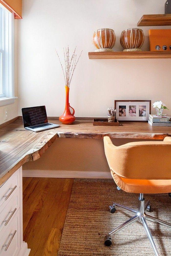 Ecktisch natürliches Holz sehr ansprechendes Home Office sanfte Farben
