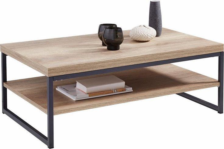 Ein echter Hingucker in jedem Wohnzimmer ist dieser moderne Couchtisch, der sich mit einer Vielzahl von Einrichtungsstilen kombinieren lässt. Das moderne Design zeichnet sich durch einen harmonischen Kontrast der Tischplatte aus hellem Holzwerkstoff und dem Gestell aus dunklem Metall aus. – Pinies