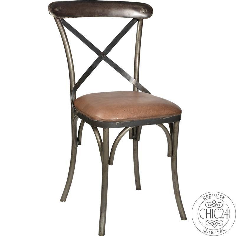 Eisenstuhl mit Kreuz, Ledersitz – Vintage Möbel und Industriedesign L, € 219,00