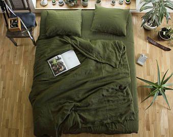 Emerald. 3-Piece linen bedding set. Linen duvet cover and 2 pillowcases. Dark green. Twin, Full, Queen, King, Euro, AU sizes