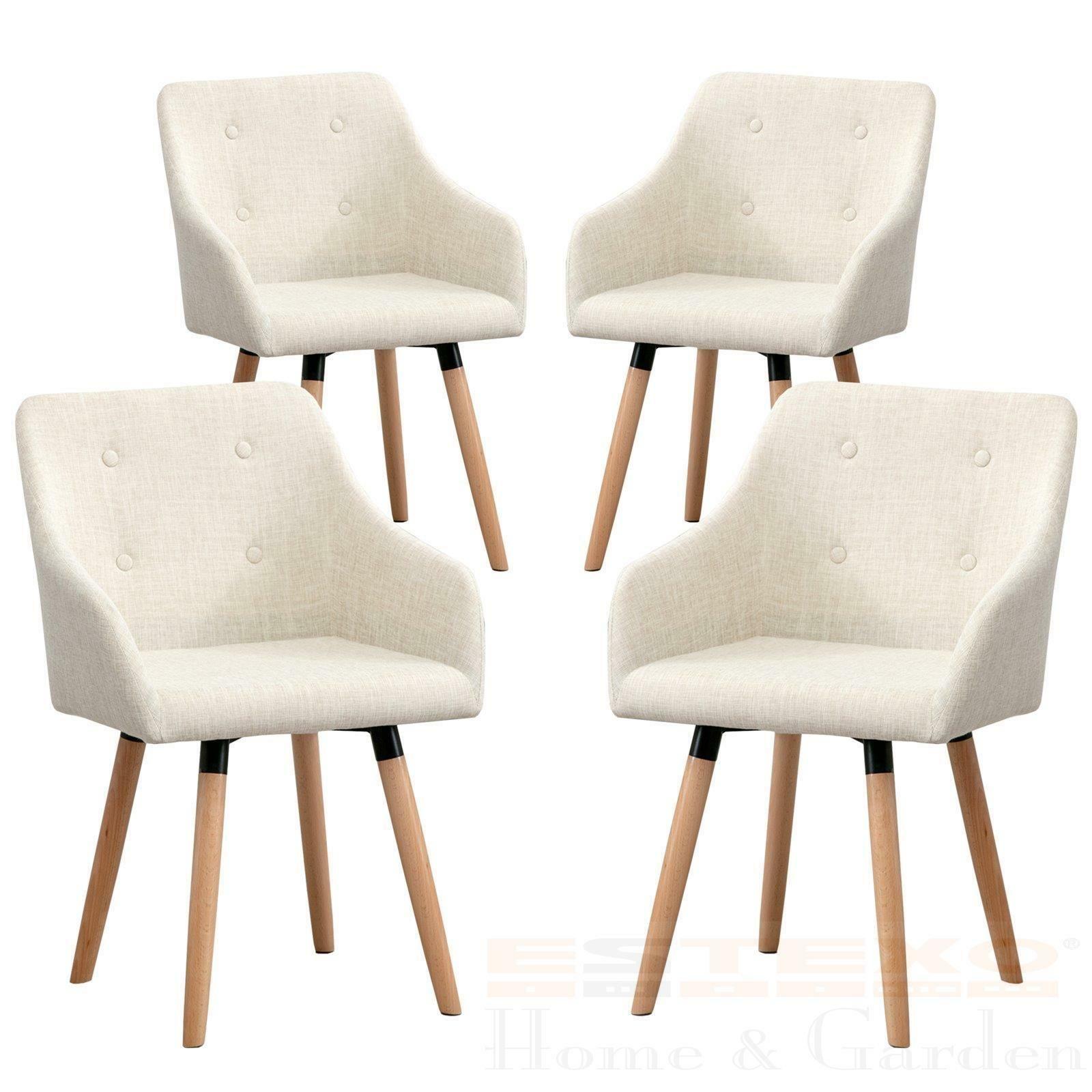 Esszimmerstühle Küchenstühle Essstühle Stuhl Ilmar Armlehnen Stoff beige 4er