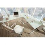 Exklusiver Design Eck-Schreibtisch Big Deal 180cm mattweiß Glas Riess AmbienteRiess Ambiente