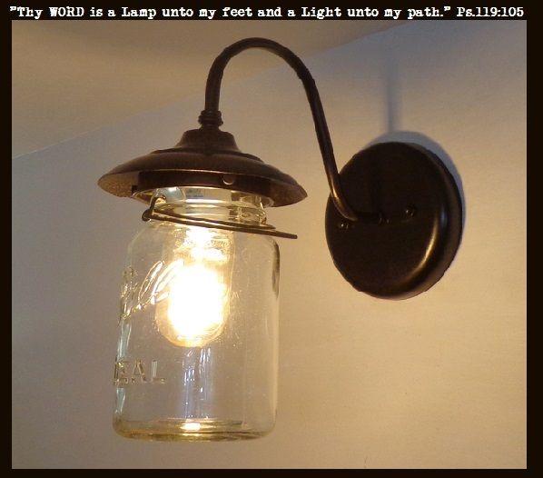 Exterior Outdoor Mason Jar Wall Sconce Light with Vintage Jar