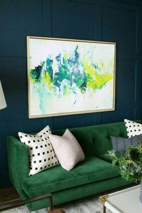 Extra Large Wall Art Abstract Green Painting White Painting Artwork Abstract Painting On Canvas Original Abstract Living Room Wall Art
