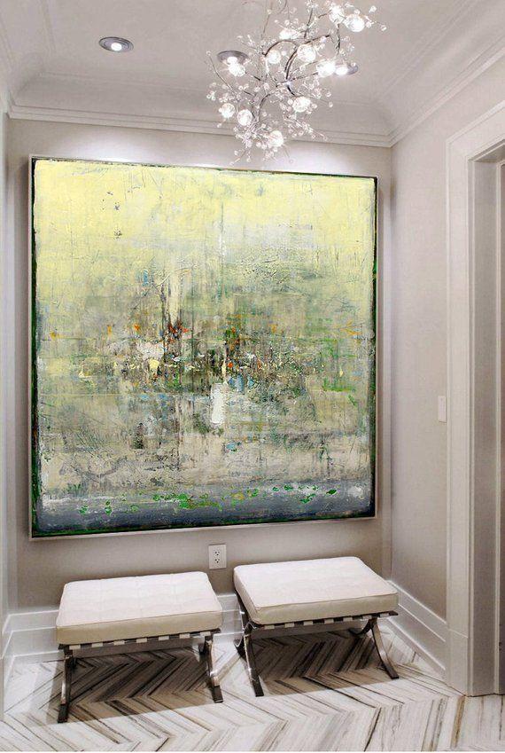 Extra Large Wall Art Abstract Green Painting Yellow Painting Artwork Abstract Painting On Canvas Original Abstract Living Room Wall Art