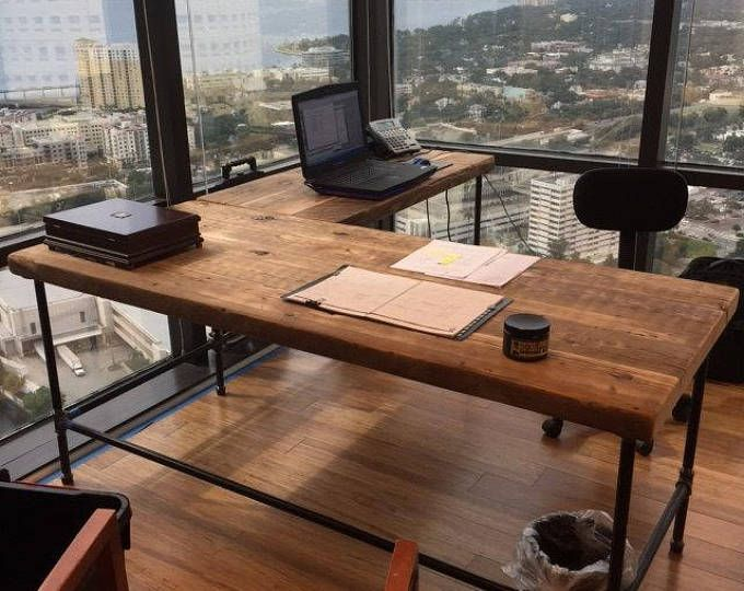 Farmhouse Office Desk in L shape made with reclaimed wood and pipe legs or square steel legs in choice of size, thickness and finish