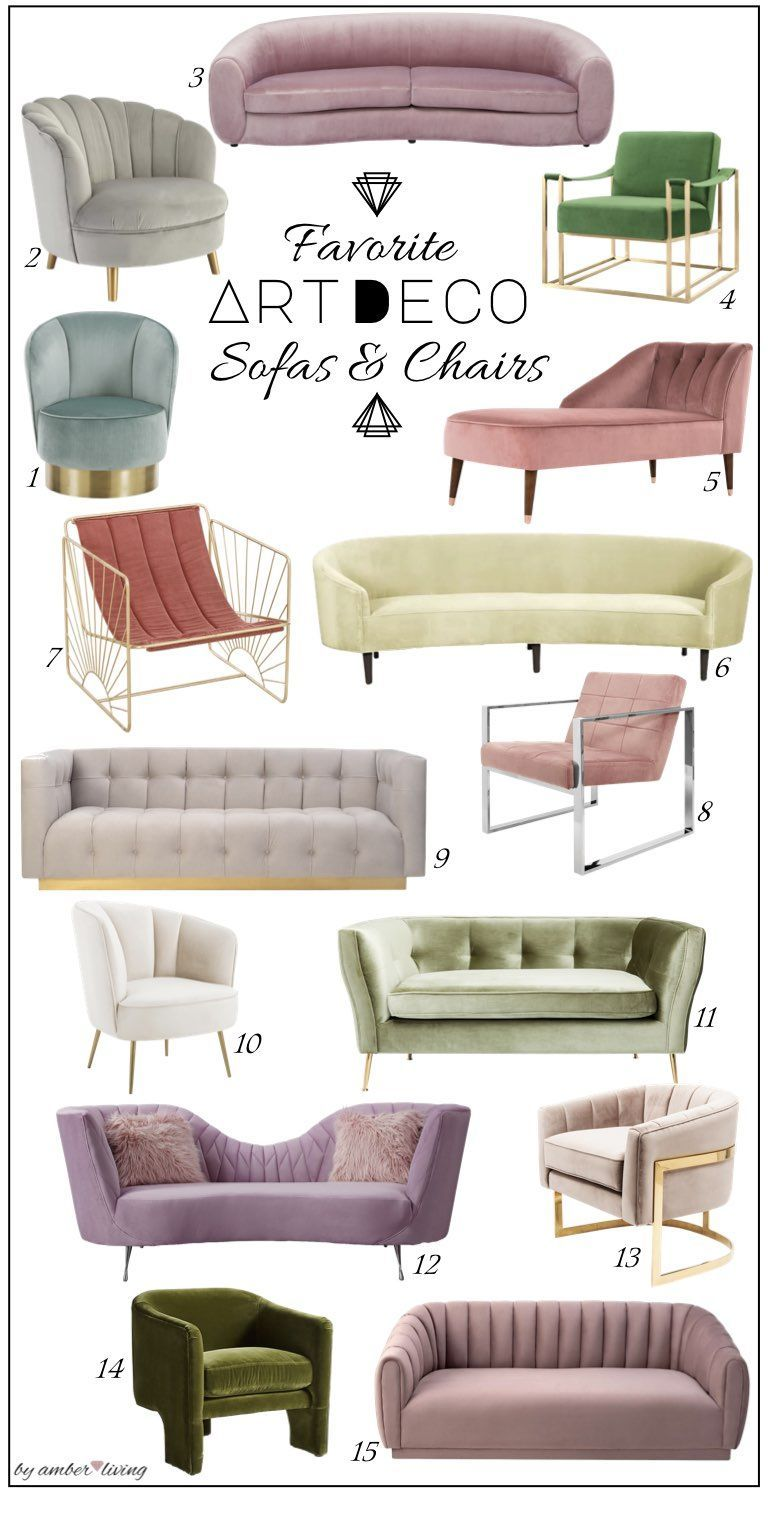 Favorite Art deco Upholstery: Sofas and accent chairs #artdecointerior Art deco …