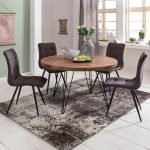 Finden Sie Top-Angebote für Esszimmertisch rund Ø 120 cm Massivholz Sheesham E...