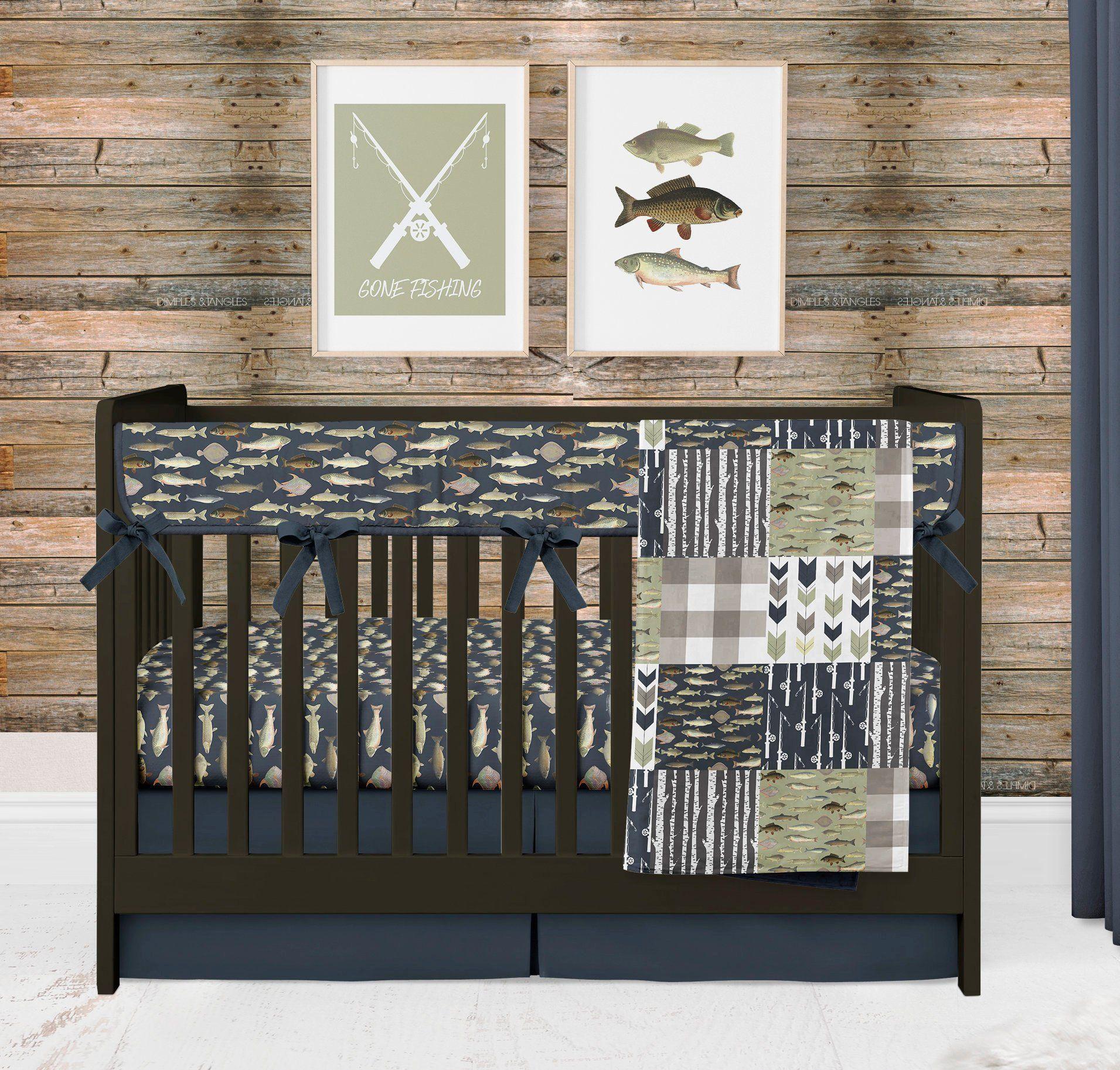 Fishing Crib Bedding Set for Baby Boy Nursery, Woodland Outdoor Gone Fishing Nursery Theme