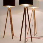 Floor lamp, tripod, Bauhaus style, walnut wood