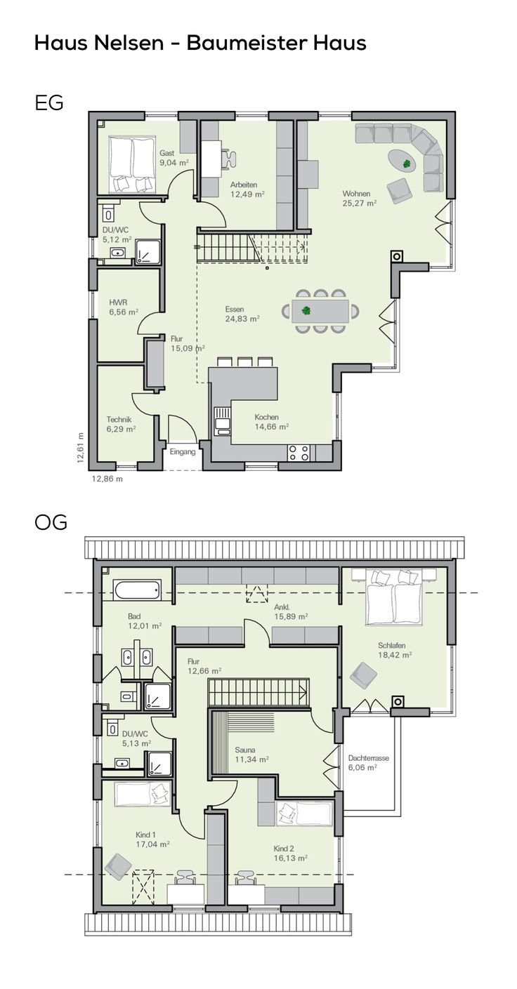 Floor plan Detached house with garage – 6 rooms, 220 sqm living area, pitched roof, … – Dekoration Trends Site
