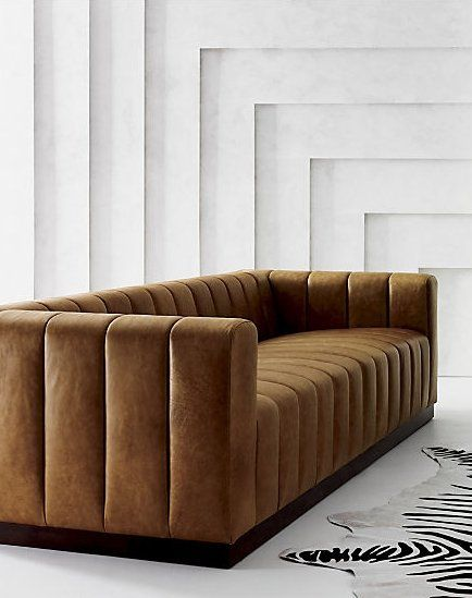 Forte Channeled Saddle Leather Extra Large Sofa + Reviews | CB2
