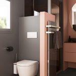 Foto Modernes Badezimmer rosa Ambience Velvet hängende Toilette