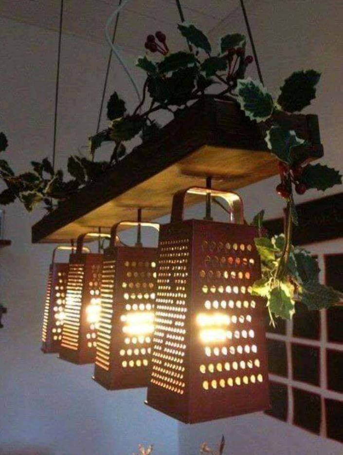 Galvanized Metal Grater Light Fixture Farmhouse Style Kitchen
