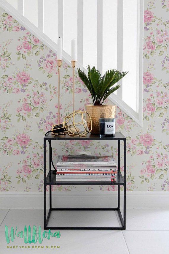 Garden Rose and Wild Geranium pattern floral wallpaper, Wild geranium wall mural, Garden Rose peel & stick wallpaper, 149
