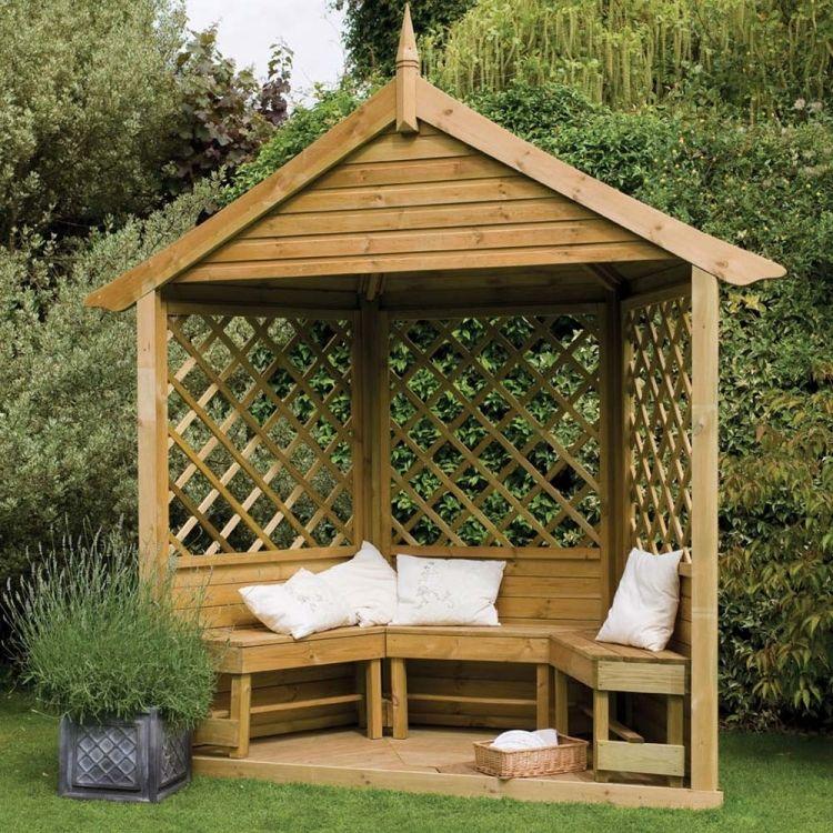 Gartenlaube aus Holz – der Gartenpavillon wird zum Blickfang