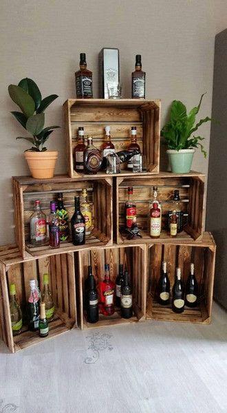 Geflammte Weinkisten, perfekt als Grundlage für die Hausbar / use wooden boxes …