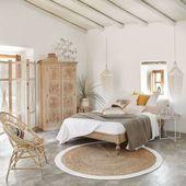 Geflochtener runder Juteteppich mit weißen Konturen Maisons du Monde – #Gefloch…