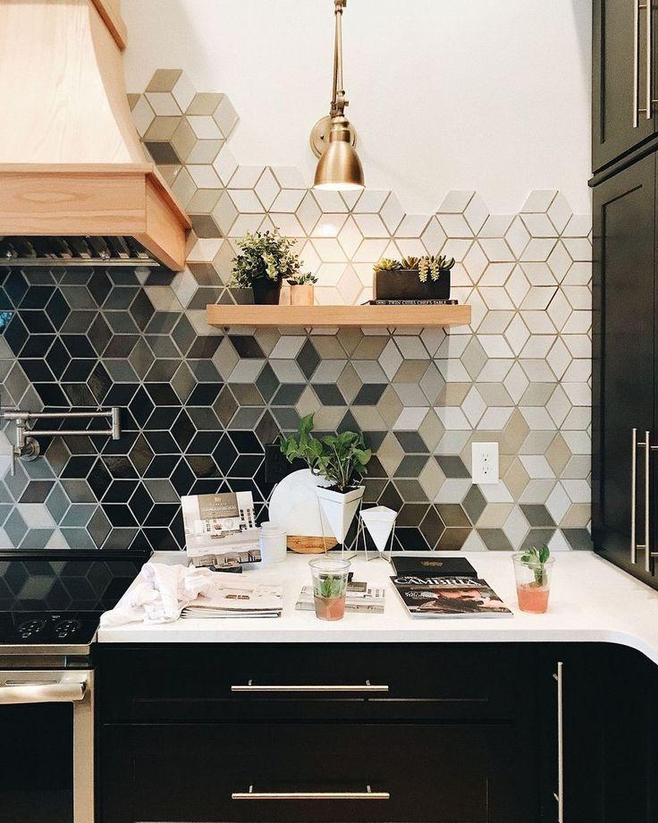 Geometric ombre kitchen tile,  #backsplash #decor #design #home #Ideas #kitchen