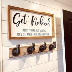 Get Naked Framed Wood Sign, Unless You're Just Visiting, That Would Be Weird, Funny Bathroom Decor, Custom Home Decor, Modern Farmhouse