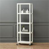 Go-Cart White Five-Shelf Rolling Bookcase – #homeofficefurniturestorage – #Offic…