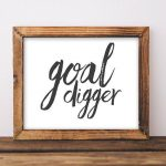 Goal Digger printable art office decor work printable cubicle decor typography quote home office wal