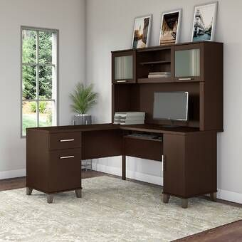 Goin Height Adjustable L-Shape Computer Desk with Hutch