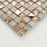 "Gray and Rose Gold OX022-11.7""x11.7"" Stone Mosaic Mixed Glass & Stainless Steel Accent Wall Tile, Clear Crystal and Metal Backsplash Tiles"