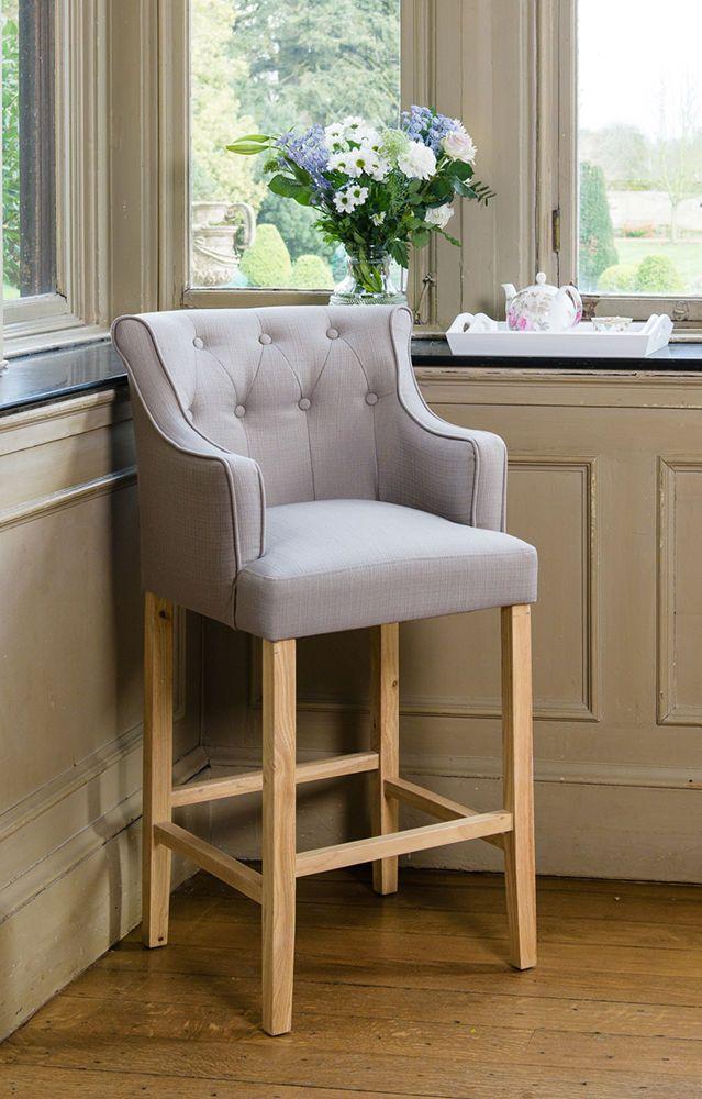 Grey Upholstered Button Breakfast Bar Stool Wooden Oak Legs Kitchen Dining Chair for sale   eBay