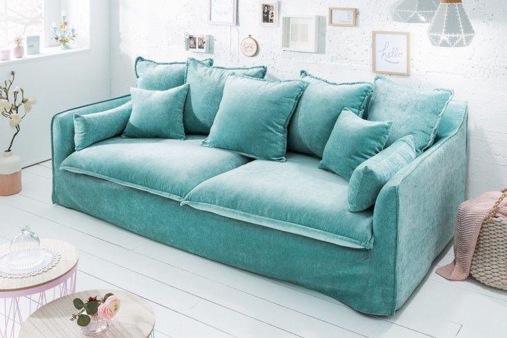 Großes 3er Sofa HEAVEN 210cm aqua Samt abnehmbarer Bezug Hussensofa | Riess-Ambiente.de