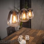 Hängelampe Shaded Bulb 3er Industrial getöntes Rauchglas Altsilber M