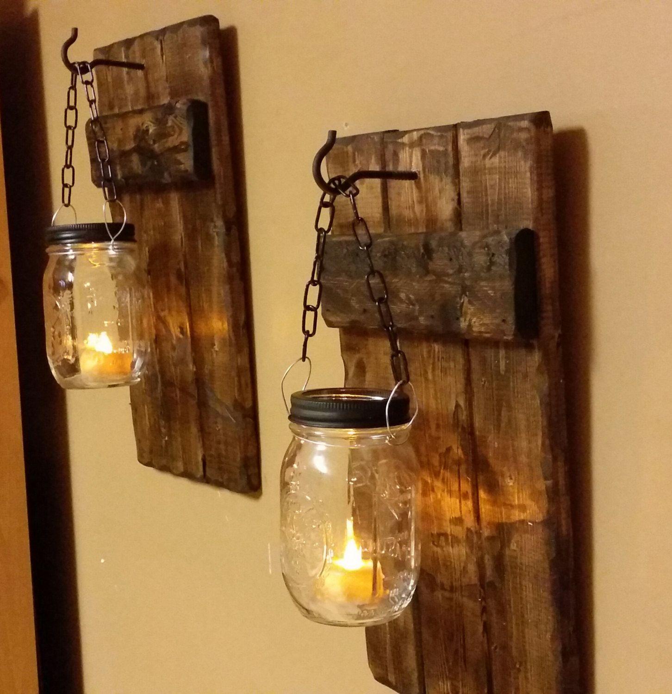 Hängende Kerzenhalter, rustikale Dekor, Leuchte Kerzenhalter, Mason Jar Dekor, Mason Jar Kerze, Land Dekor, Kerzen