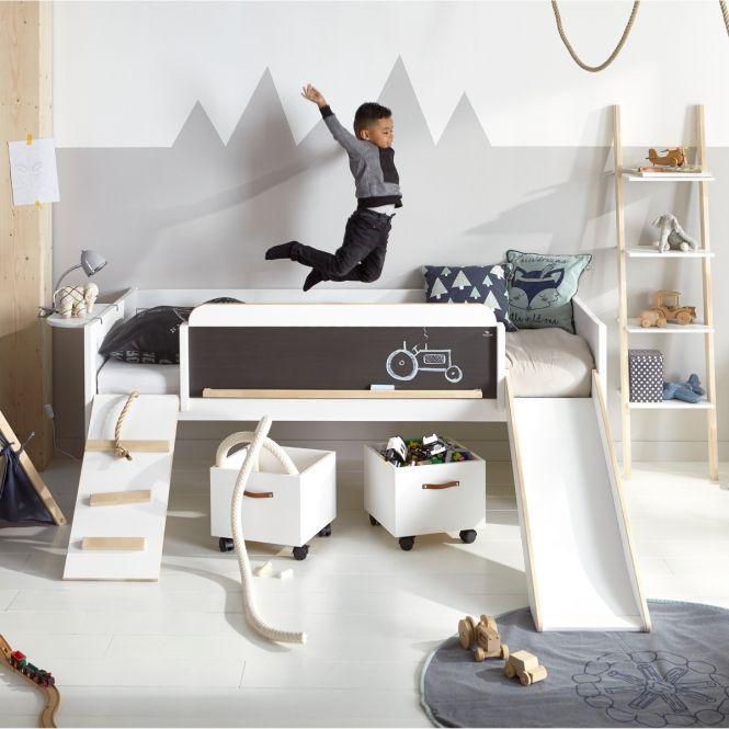 Halbhohes Hochbett PLAY, LEARN & SLEEP Kiefer, mit Rutsche, 90x200cm
