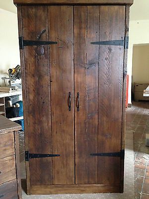 HandMade Chunky Rustic Reclaimed Wood Plank Double Wardrobe Warm Oak Finish in H…