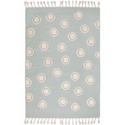 Handgefertigter Kelim-Teppich Ring aus Wolle in Mint/Natur Livonelivone
