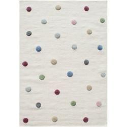 Handgefertigter Kinderteppich Colordots aus Wolle in Creme Livonelivone