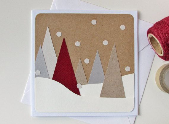 Handmade Christmas Tree Card – Christmas Modern Card – Xmas Card – Seasonal Card – Christmas Greeting Card – Winter – Snow