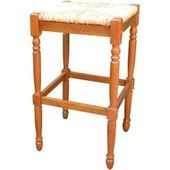 Harrington Barhocker aus Holz mit Rückenlehne, Sitz aus Natu…- Harrington Bar…