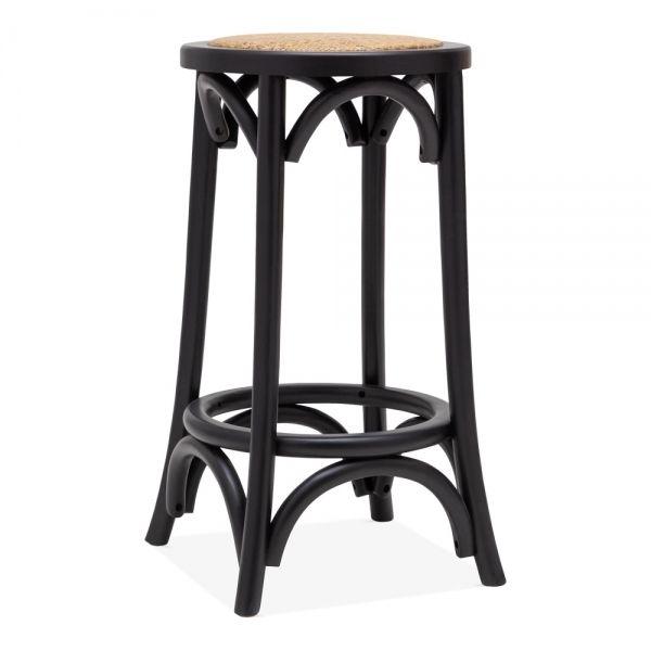 Harrington Wooden Bar Stool, Natural Rattan Seat, Black 66cm